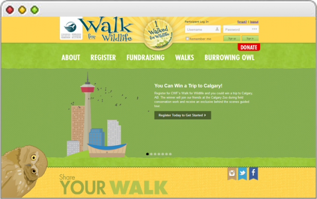 Walk for Wildlife 2014 website