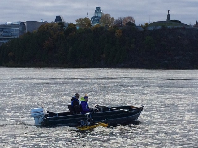 Headed out for a chilly day of bathymetry work below the Chaudiere Falls complex. Here, the aDcp is attached beside the boat.