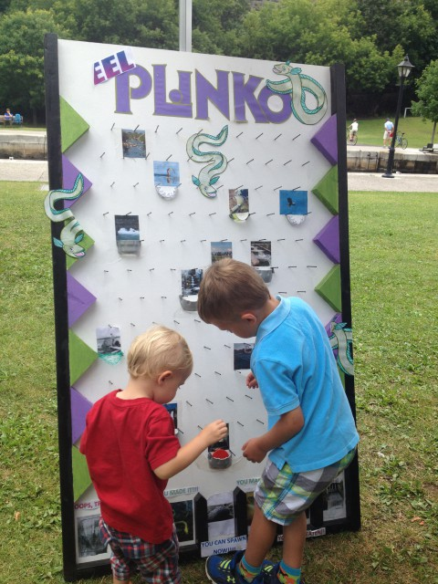 """Children's activities included """"Eel Plinko"""" which educated participants about the obstacles eels face during their migration."""