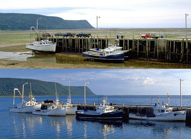 An example of the extreme tides at the Bay of Fundy, in Nova Scotia (Photo).