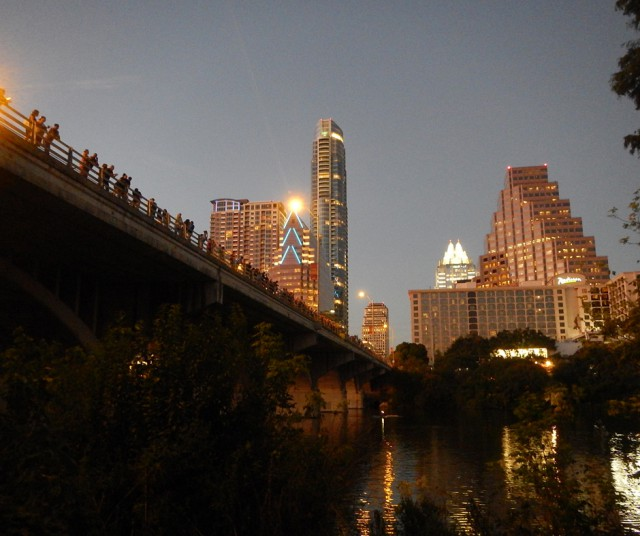 People line the Congress Avenue Bridge in Austin waiting for the bats to emerge.