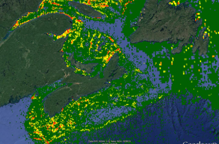 An image of the density of some fisheries in Atlantic Canada during 2012 (green = low density; red = high density).