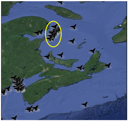 NOAA North Atlantic Right Whale Sightings Map of the Canadian Maritimes showing confirmed Right Whale locations during August 2016.