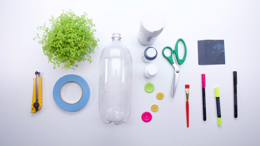 Supplies for plastic bottle planters