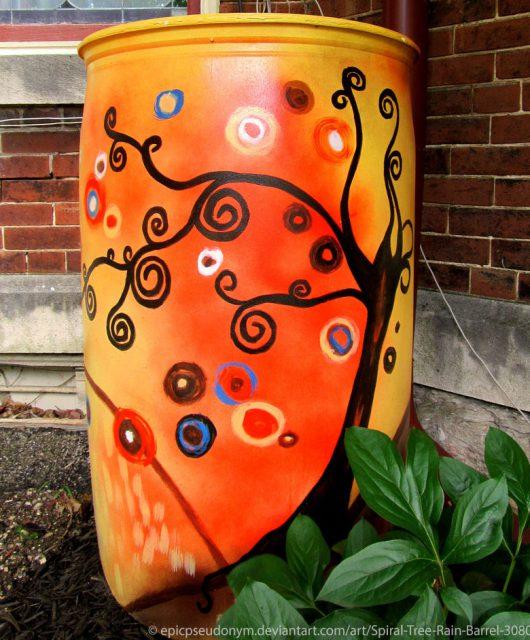 Spiral Tree Rain Barrel