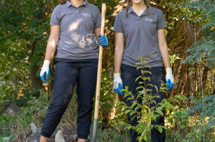 CCC participants Cassy and Marika helping plant trees.