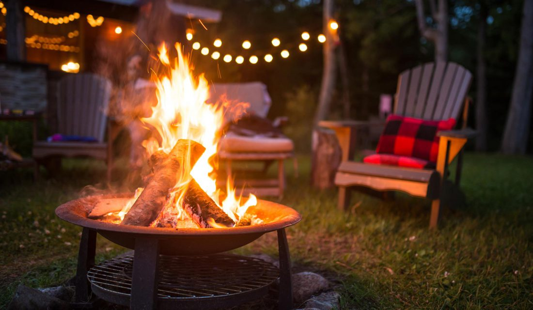 campfire by cabin
