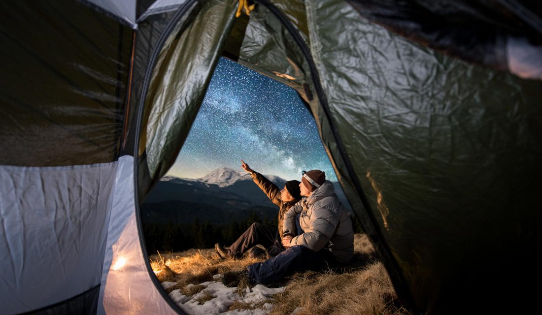 stargazing camping winter tent