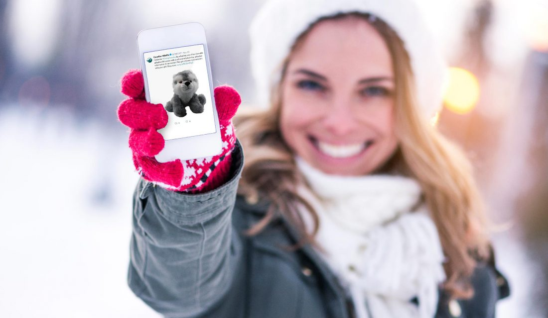 woman phone twitter snow