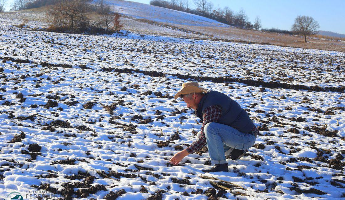 farmer field snow soil