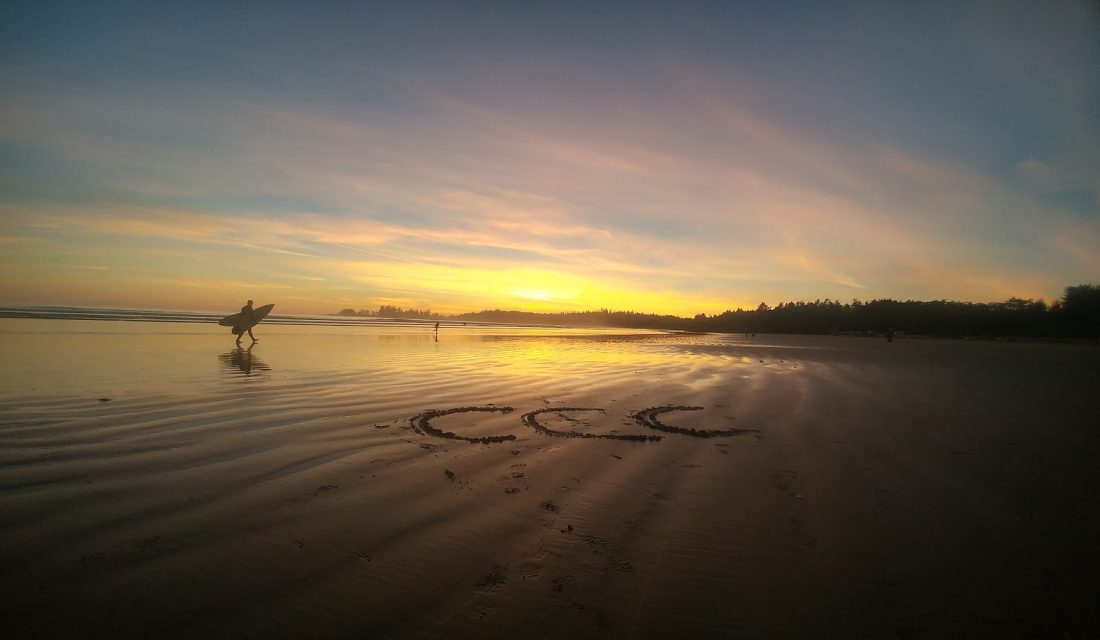 Sunset, Surfer, and CCC on Long beach in Pacific Rim National Park Reserve @Angela Rehhorn