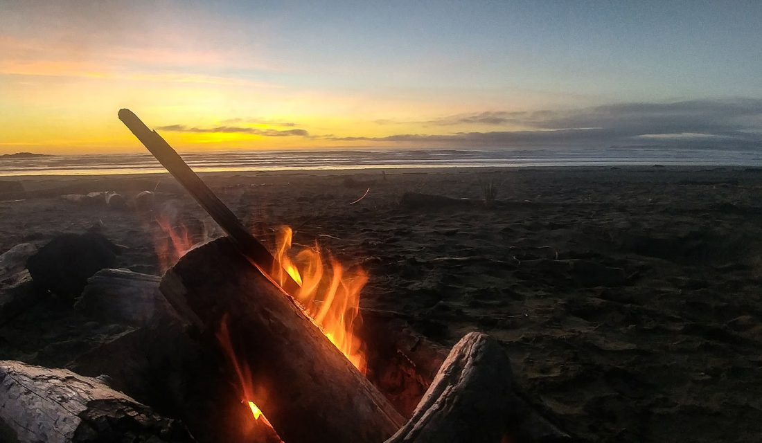 Finishing the day with a sunset beach fire. Photo: Angela Rehhorn