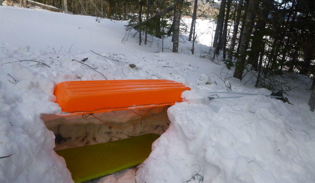 sled sleeping outside in winter