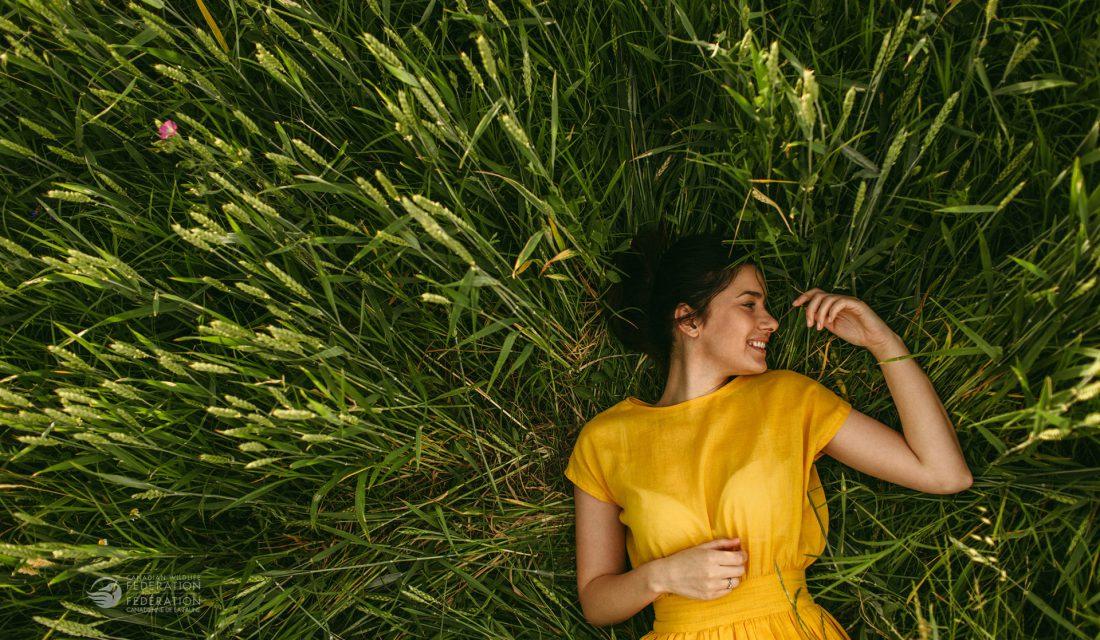 woman outside sleep grass