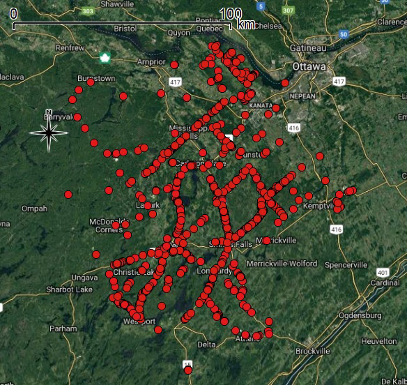 Map of where CWF found over 1,400 dead turtles on roads in eastern Ontario.
