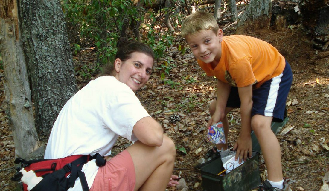 mother and son geocaching